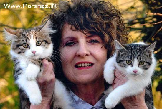این خانم تمام عمر و زندگی اش را به پای گربه هایش گذاشت
