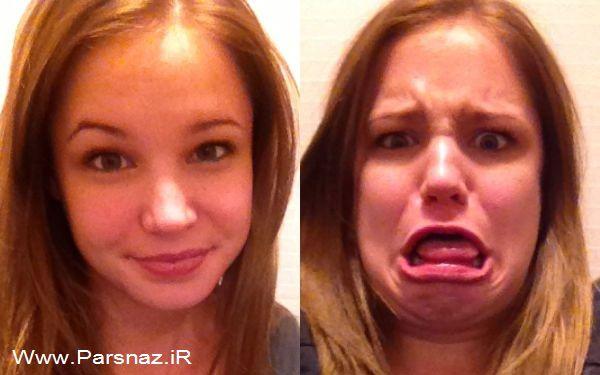 www.parsnaz.ir - عکس های خنده دار از مسابقه شکلک در آوردن دخترها