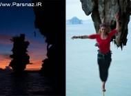اقدام خطرناک این خانم ماجراجو میان دو صخره (عکس)