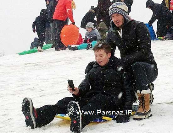 www.parsnaz.ir - عکس های دیوید  بکهام و پسرانش در حال برف بازی