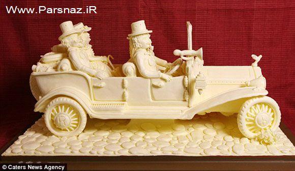 مجسمه هایی درست شده از کره که می شود با نان خورد