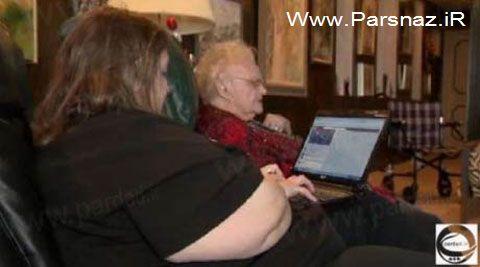 علاقه بسیار زیاد این پیرزن 104 ساله به فیسبوک (عکس)