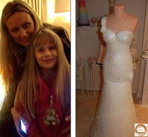 طراحی یک کیک عروسی به شکل لباس عروس (عکس)