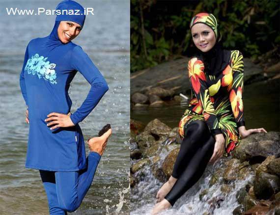 طراحی لباس شنا ویژه خانم های مسلمان (عکس)