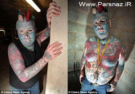 این مرد عجیب با 80 درصد خالکوبی بر بدن و صورت (عکس)