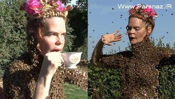رقص این خانم در سوز نیش 12 هزار زنبور (عکس)