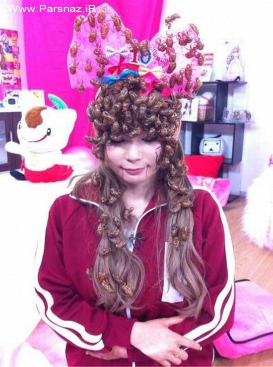 تصاویر چندش آور شینیون این دختر با سوسک