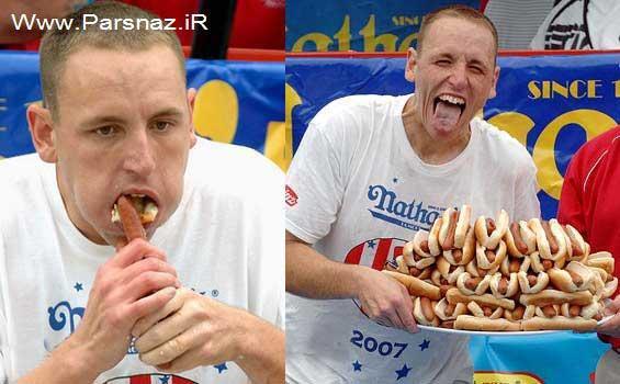 این آقا رکورددار همبرگر ، هات داگ و پیتزا خوری در جهان است