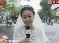 خانم گزارشگر با لباس عروس گزارش تهیه می کند (عکس)