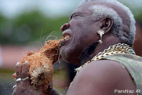 عکس های دیدنی از مردی با قدرت عجیب در دندان