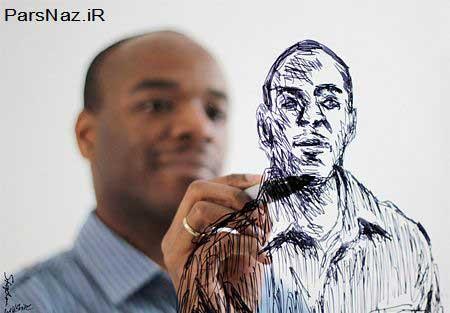 هنرمندی که با حفظ تصاویر نقاشی های   فوق العاده می کشد (عکس)