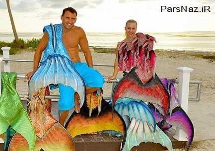 عروس و دامادی که ماهی شدند (عکس)