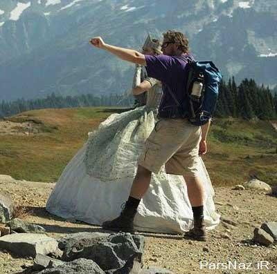 زنی با لباس عروس به قصد کوهنوردی (عکس)