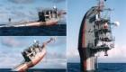 کشتی جالب که در اقیانوس عمود می ایستد (عکس)