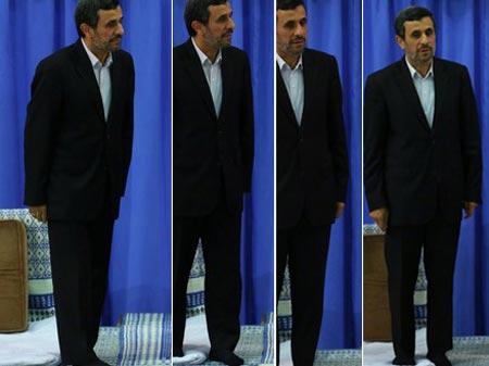 عکس جالب از قیافه احمدی نژاد در لحظه تنفیذ