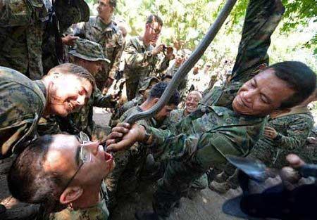 عکس های وحشتناک از خوردن خون مار کبری توسط نظامیان