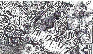مردی که بدون هوشیاری نقاشی می کشد (عکس)