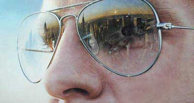 نقاشی شگفت انگیز از نوع انعکاس تصویر روی عینک (عکس)