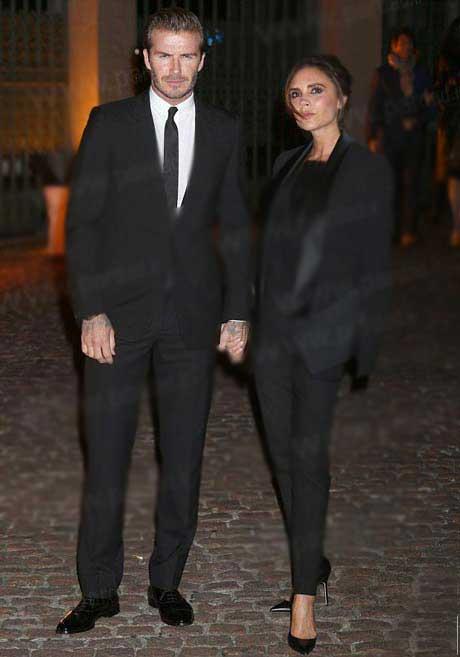 بکهام و همسرش در جشنواره مد لباس لندن (عکس)
