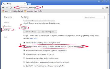 چگونگی حذف آدرس های پیشنهادی گوگل کروم