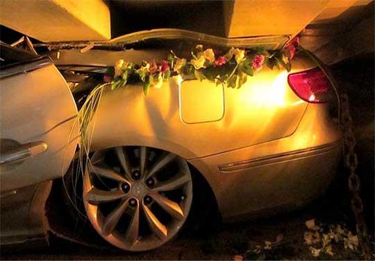 له شدن کاروان عروسی در تهران بخاطر افتادن تریلر