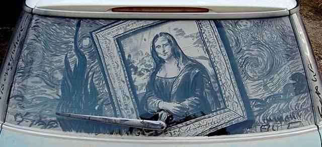 تصاویری از هنرنمایی بی نظیر روی اتومبیل کثیف