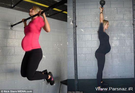 جنجال ورزش کردن سخت این خانم در دوران بارداری + عکس