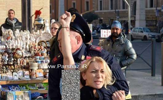بازداشت این خانم فمنیست برهنه در خیابان + عکس
