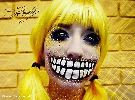 آرایش شگفت انگیز این دختر 18 ساله بر روی صورت +عکس