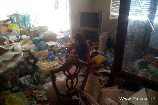شکنجه دختری توسط مادرش در خانه پر از آشغال +عکس