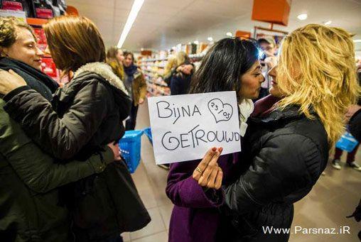 بوسه های فروشگاهی دختران همجنس باز (عکس)