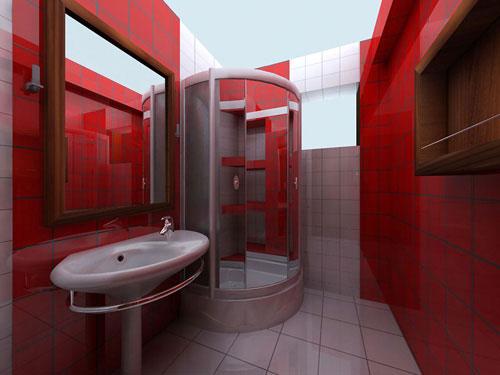 دکوراسیون سرویس بهداشتی با رنگ قرمز +عکس