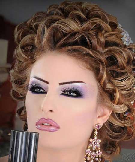 مدلهای جدید آرایش عروس با تم بنفش و یاسی